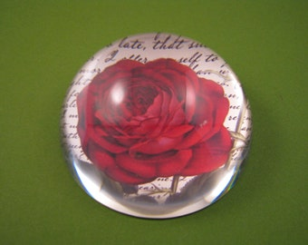 Rose Paperweight, Dome Paperweight, Bourbon Red Rose, Script Paperweight, June Birthday, Medium Dome, Floral Home Decor, Mother's Day Gift