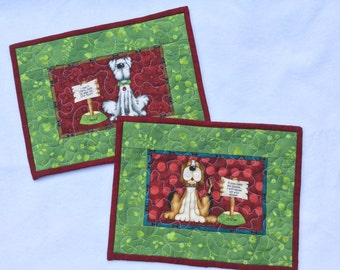 Quilted Mug Rugs Dogs Set of Two, Snack Mat Quilted, Red Green Mug Rugs, Mini Placemats Dogs, Large Mug Rugs Quilted