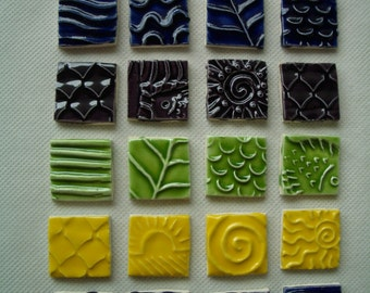 24C - COLORFUL Stamped SQUARES - Ceramic Mosaic Tiles