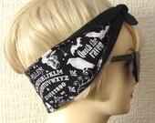 Fortune Teller Ouija Board Hair Tie Print Rockabilly Head Scarf by Dolly Cool Spooky Occult Dark Arts