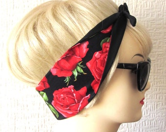 Red Rose Hair Tie Rockabilly Head Scarf by Dolly Cool Rockabilly Pin Up Large Roses