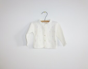 Vintage White Knit Baby Sweater