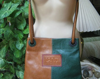 Vintage pebbled leather color black shoulder bag, LAND green tan red navy leather purse, multi color leather crossbody bag, bucket strap bag