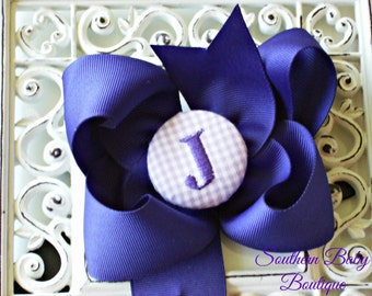 New Item---Boutique Monogrammed Baby Toddler Girl Hair Bow Clip---GINGHAM---Purple and Lavender---Letter J--Ready to Ship