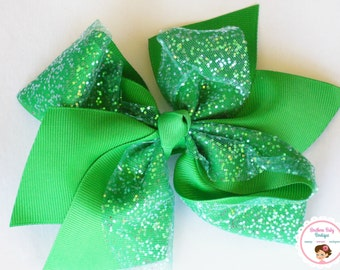 BOW BLOWOUT---X-Large Boutique Double Layered Hair Bow Clip---Emerald Green---Glitter Tulle Bow Collection---Ready To Ship