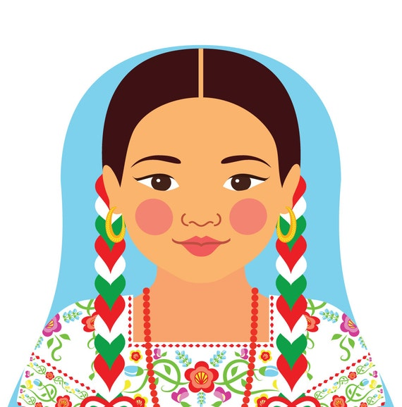 Mexican China Poblana Art Print with folk dress, matryoshka
