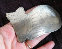 Vintage Silvertone Enormous Cat Brooch - Stylized Lounging Cat Pin - Stamped Sheet Metal - Extra Large Scarf Pin Artisan Made - Figural Pin