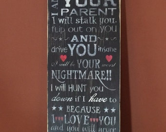 I am your parent - I am not your friend - Parent - Wooden sign - Wall decor - Sign - Home decor - Family sign - Wood sign - Parent sign