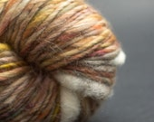 Cosy Tea, Yak, Merino, Silk, Cocoon Art Yarn, HandSpun HandDyed Yarn, 80yards