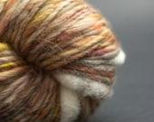 Cosy Tea, Yak, Merino, Silk, Cocoon Art Yarn, HandSpun HandDyed Yarn, 80yards