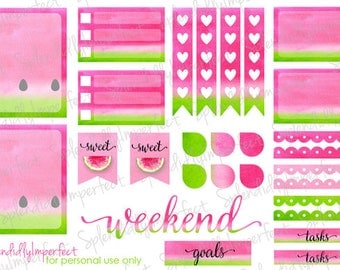Watercolor Melon stickers for Erin Condren Life Planners