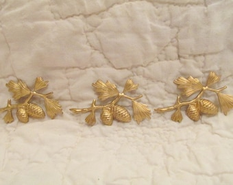 3 Vintage Cabochons lot of Destash pieces brass Pine cones on Branch