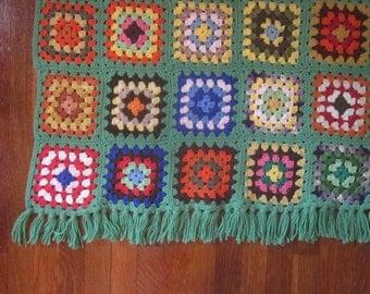 Vintage Granny Squares Wool Afghan with Fringe