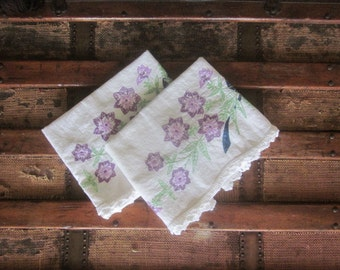 Vintage Embroidery Pillow Case Pair with Crocheted Lace Edge