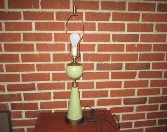 Vintage Mid Century Modern Green Metal Table Lamp