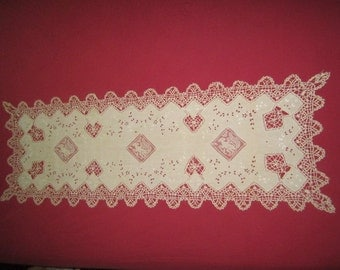 Antique Circa 1910 Ecru Linen Needle Lace 18x53 Runner with Figural Squirrels Filet Lace Inserts