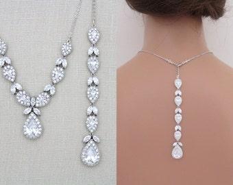 Bridal Backdrop necklace, Crystal Wedding necklace, Teardrop necklace, Wedding jewelry, Statement necklace, Rose Gold necklace, HARPER
