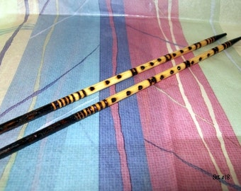 Designer Chopsticks Woodburned,  Dining Utensil, Round Bamboo Hair Sticks, Pyrography Abstract Design, Wood Art, Sepia Brown, Home Decor