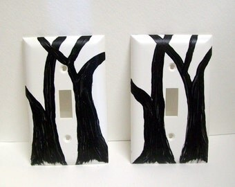 Light Switch Plates, Set of 2, Tree Art, Handpainted Home Decor, Black and White, Outlet Cover, Electrical Accessory, Acrylic Painting