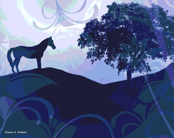 Horse Art, Monochromatic Blue, Floral Home Decor, Digital Landscape Photomontage, Flowers And Trees, Wall Hanging, Giclee Print,  11 x 14