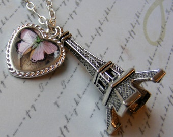 Butterfly in Paris- silver chain necklace, 30 1/2 inches or 77.5 cm