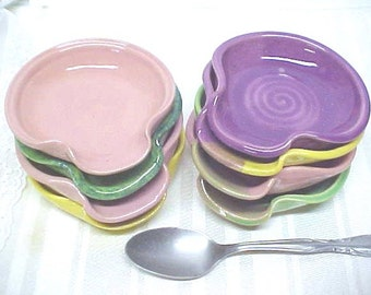 Ceramic Spoon Rest, Ring Dish, Dipping Bowl, Tea Bag Holder, CHOICE of COLOR,  Yellow, Pink, Fuchsia Purple