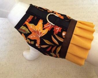 Fall Leaves Ruffle Dog Harness Vest