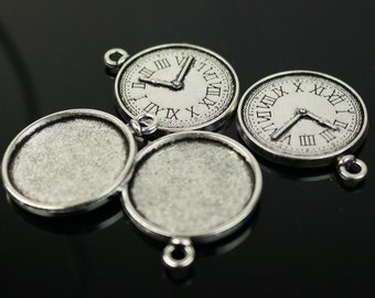 Pendant TIME Bezels with GLASS Magnifying Domes Cabochon - 5 sets 10 pcs  - 25mm 1(one) inch Antique Silver Bezel and Circle Glass Cabochon