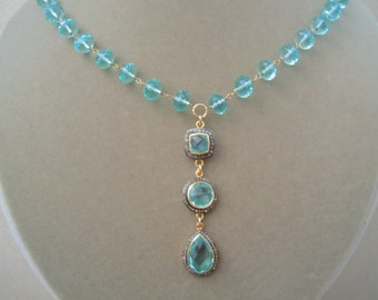 Versailles -- Aquamarine and Pave Focal with Aqua Quartz Faceted Rondelle Wire-Wrapped Necklace