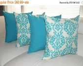 Fresco Atlantis and Luminary Turquoise Blue Outdoor Throw Pillow - 4 Pack  - 4 Pack - Free Shipping