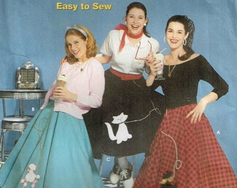 Circular Poodle Scotty Scottish Dog, Cat Skirt Applique Halloween Costume Sewing Pattern Misses Simplicity 5403 Womans Size  6 8 10 12