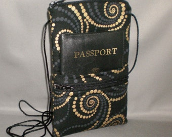 iPhone6 Purse - Passport Purse - Sling Bag - Hipster - Wallet on a String - Black and Bronze Swirling Dots