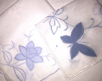 2 Vintage white Hankies with Blue Flowers