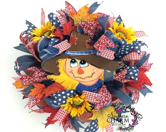 Deco Mesh Fall Scarecrow Wreath, Autumn Wreath, Fall Burlap Wreath, Fall Wreath, Welcome Wreath, Sunflower Wreath, Front Door Wreath