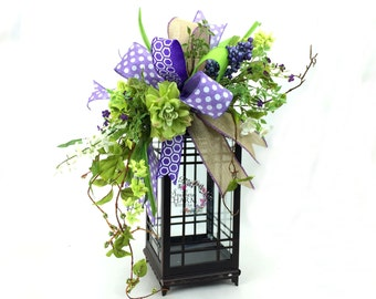 Spring Lantern Swag with Dahlias and Wild Flowers in Lavender & Lime Green, Easter Lantern Swag, Spring Decor, Floral Swag,