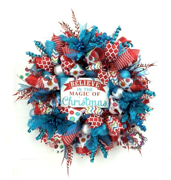 Red Turquoise Not Just For Holiday Decor: Deco Mesh Christmas Wreath In Retro Christmas Colors Red