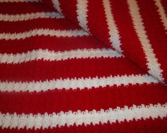A-1502 Red and White Afghan
