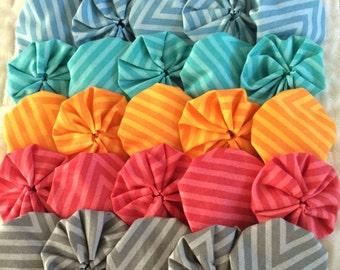 Fabric yoyo puff appliqué, rainbow chevron assortment  30 pieces , for quilt Scrapbook Embellishment GARLAND decoration