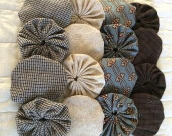 Fabric Yoyo neutral Brown, Suffolk puff Yo flower  Scrapbook Embellishment   GARLAND decoration