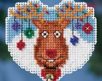 Mill Hill Winter Holiday Collection, Reindeer Games MH18-1631 Christmas Ornament Counted Cross Stitch Kit