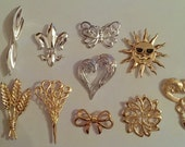Lot of Ten Vintage 1970s Lazarus Brooches