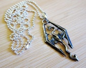 Fantasy Dragon Skyrim Hand Painted Pewter Pendant Silver Plated Chain