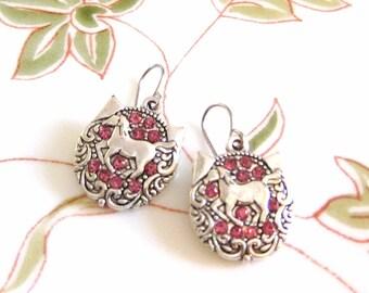 Horse Shoe Aquestrian Pink Glass Rhinestone Charm Earrings Tibetan Silver