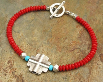Turquoise Coral Thai Hill Tribe Silver Bracelet - Southwest Cross