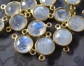Shop Sale.. 1 pc,  MOONSTONE Gemstone Connector Link Pendant, Bezel, 24k Gold Vermeil, 9-9.5 mm, bridal june birthstone  gcl2.L ll gc
