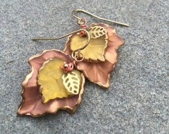 Hand Painted Lucite Earrings In Golden Yellow And Pale Mauve And Antique Gold Accents, Layered Earrings, Leaf Jewelry, Jewelry, Gift