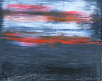 Gulf Sunset abstract painting seascape landscape white red black