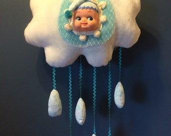 Rain Cloud Dolly Pillow - Handmade One of a Kind Faux Fur Creation 15""