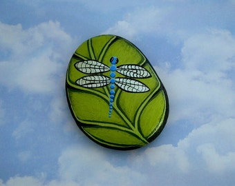 Gifts for gardener-unique OOAK collectible 3D garden art-ocean blue dragonfly on chartreuse leaf-painted rocks-paperweight-tableweight-decor