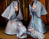 Mini Nativity, Ceramic Holy Family, Blue Copper Finish